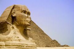 Great Pyramid and Sphinx Royalty Free Stock Images