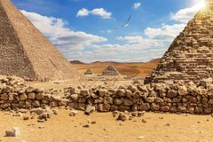 The Great Pyramids in the desert of Giza, Egypt.  stock images