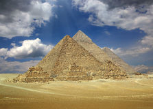 Great pyramids in Egypt. Great pyramids at Giza Cairo in Egypt royalty free stock photos