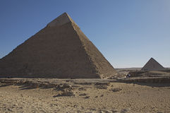 Great Pyramids of Giza. Khafre is the 2nd largest Pyramid on the Giza site. This pyramid is the only one on the top of which the casing still remains. Menkaure Stock Photography