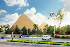 Great Pyramids  of Giza. Ancient Great Pyramids and present day of Giza town,suburb of Cairo city.  Egypt Stock Photography