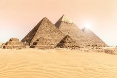The Great Pyramids of Giza in the desert sands, Egypt stock photography