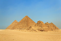 The Great Pyramids, Giza, Egypt. Three pyramids of the queens, pyramid of Menkaure and pyramid of Khafre (Chephren) , Giza, Egypt Stock Photography