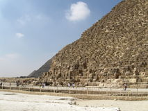 Great pyramids of Giza, Egypt. View from the east side, Khufu's pyramid in front, the other two pyramids back Royalty Free Stock Photography