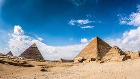 Great Pyramids of Giza. Great Pyramids in Giza, Egypt, Photo taken with a fisheye lens Stock Photo