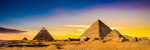 Great Pyramids of Giza. Egypt, at sunset royalty free stock photo
