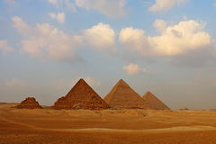 Great Pyramids on the Giza Plateau. The Great Pyramids on the Giza Plateau photographed from the southwest Royalty Free Stock Photography