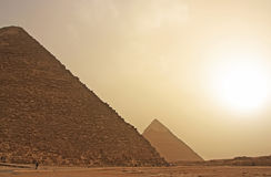 Great Pyramids of Giza in a sand strom, Cairo Stock Image