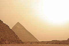 Great Pyramids of Giza in a sand strom, Cairo Royalty Free Stock Images