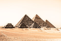 Great pyramids in Giza valley, Cairo, Egypt Stock Images