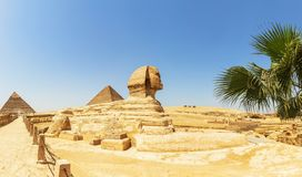 The Great Pyramids and the Great Sphinx panorama, Egypt.  stock images