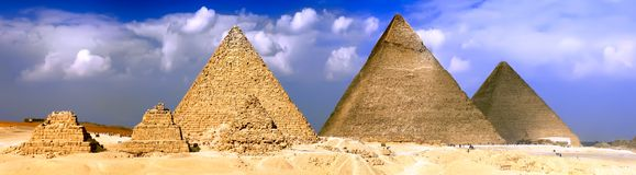 Great Pyramids, located in Giza. Panorama Stock Photos