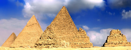 Great Pyramids, located in Giza. Panorama Stock Photography