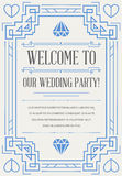 Great Quality Style Invitation in Art Deco or Nouveau Epoch 1920. 's Gangster Era Vector Royalty Free Stock Images
