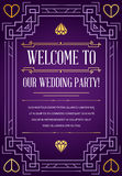 Great Quality Style Invitation in Art Deco or Nouveau Epoch 1920. 's Gangster Era Style Vector Stock Image