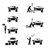 How to change a tire correctly graphic style educational poster. Great quality work. On this picture you can see some high quality and resolution graphic vector illustration