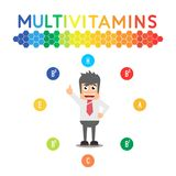 Vitamins Sports nutrition healthy educational poster. Great quality work. On this picture you can see some high quality and resolution graphic creative ideas royalty free illustration