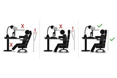 How to sit correctly  graphic style educational poster. Great quality work. On this picture you can see some high quality and resolution  graphic creative ideas Royalty Free Stock Photo
