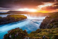 Great rapid flow of water powerful Godafoss cascade. Location place Skjalfandafljot river, Iceland