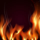 Great realistic vector fire flames smoke sparks on red backgroun. D Stock Photos