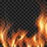 Great realistic vector fire flames smoke sparks on translucent b Stock Photos