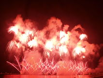 Great red fireworks Stock Images
