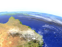 Great Reef Barrier on realistic model of Earth Stock Image