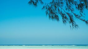 A great relaxing sea view from beach with tree leaf shadow shed stock photography