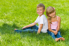 Great rest on the green lawn Stock Photography