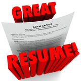 Great Resume 3D Red Words Successful Application. The words Great Resume and a document with all the necessary things to include such as educaiton, experience Stock Photos