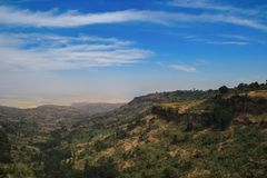 Great Rift Valley in Uganda with amazing sky. Africa landscare royalty free stock photography