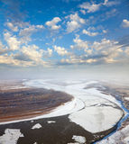 Great river with floating ice floes Stock Photography