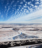 Great river with floating ice floes Stock Photos
