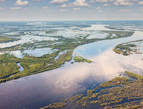 Great river in flood period, top view Royalty Free Stock Image