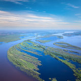 Great river during flood, top view Royalty Free Stock Photography