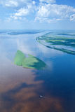 Great river during flood, top view Royalty Free Stock Photo