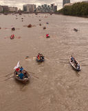 The Great River Race, boats on the Thames. Royalty Free Stock Photos