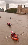 The Great River Race, boats on the Thames. Stock Photos