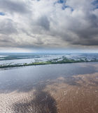 Great river in spring, top view Stock Photo