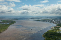 Great river in spring, top view Royalty Free Stock Photo