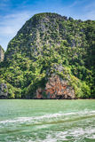 Great rocky mountain in the sea at Phuket,Thailand Stock Photos