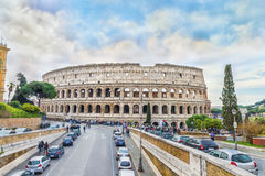The Great Roman Colosseum (Coliseum, Colosseo) also known as the Flavian Amphitheatre. Royalty Free Stock Image