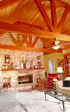 Great Room. Rustic great room with wood beam ceiling Stock Image
