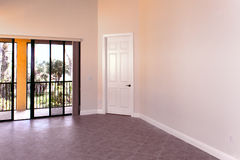 Great room in empty condo. View if the large great room in an empty condo in florida Royalty Free Stock Photos