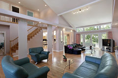 Great room in suburban home. With open floor plan royalty free stock image
