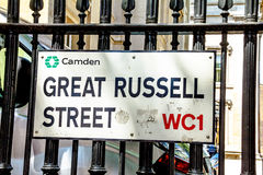 Great Russell street sign  in Borough of Camden at Central London, United Kingdom Royalty Free Stock Photo