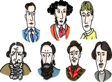 Great Russian writers. Vector image of the greatest famous writers Stock Photo