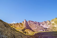 Great Saint Bernard Pass, ancient road along the Aosta Valley Royalty Free Stock Photo