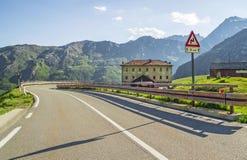 Great Saint Bernard Pass, ancient road along the Aosta Valley. Summer evening on the Great Saint Bernard Pass, ancient road along the Aosta Valley - Alps Royalty Free Stock Photos