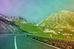 Great Saint Bernard Pass, ancient road along the Aosta Valley Royalty Free Stock Images
